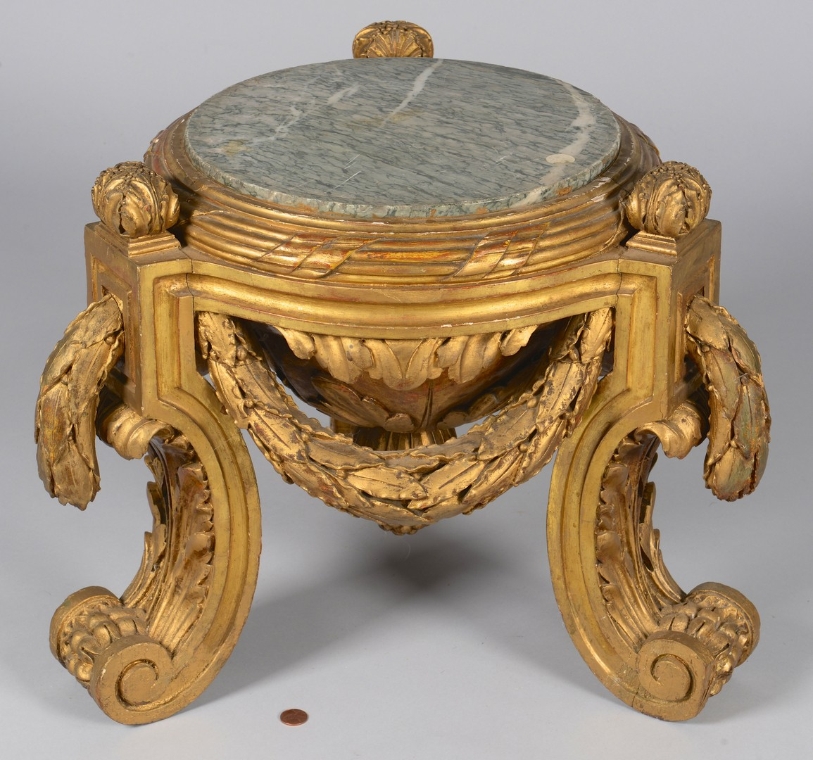 Lot 266: French Empire Giltwood and marble pedestal