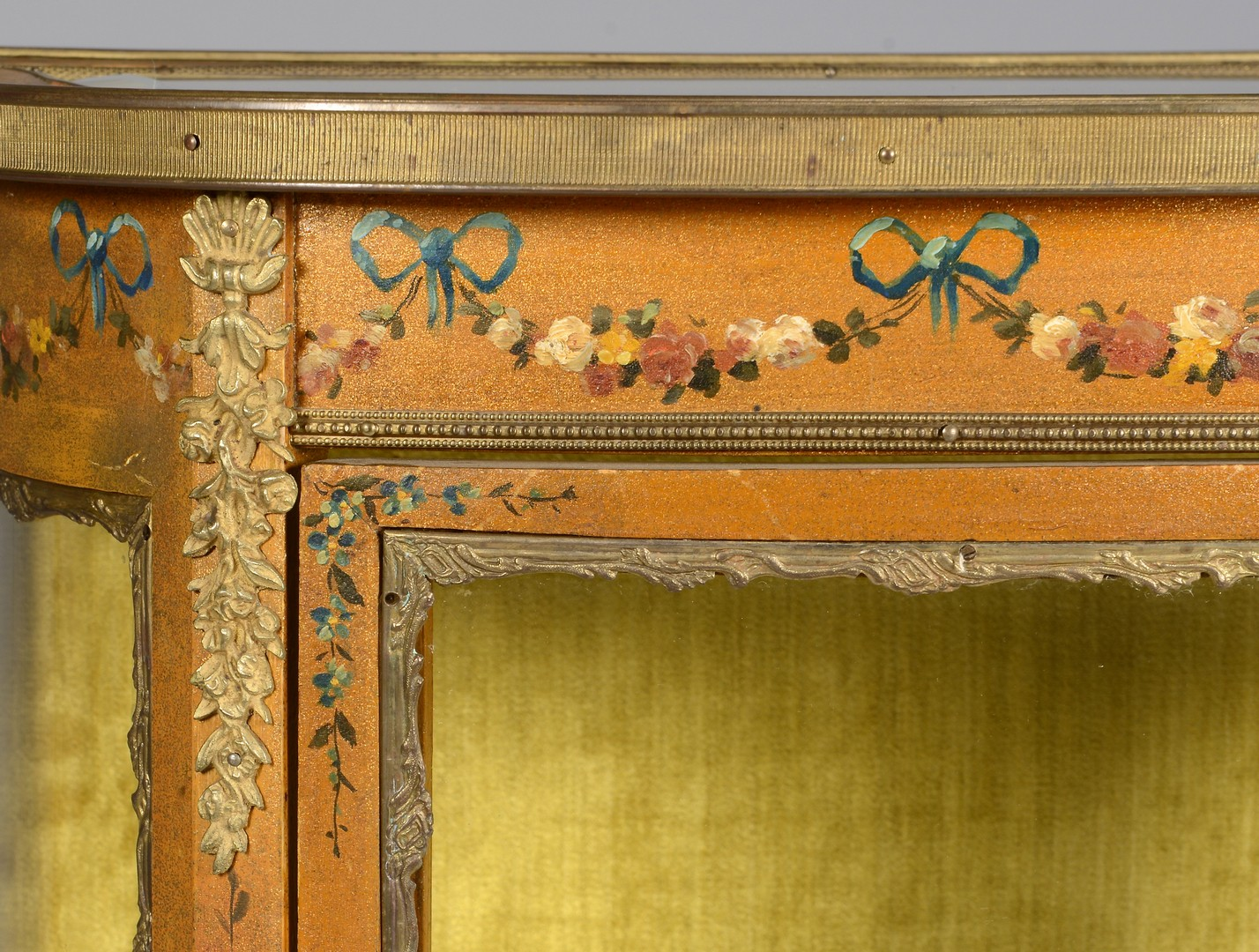 Lot 273: Vitrine w/ Painted Florals & Ormolu Mounts