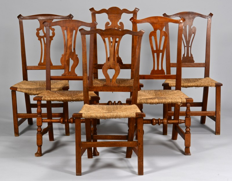 Lot 279: 6 Chippendale Country Side Chairs, 18th c.
