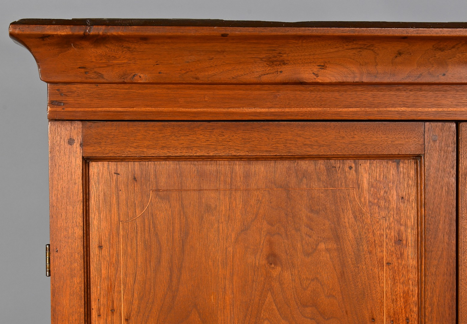 Lot 283: Blount Co. TN Inlaid Corner Cupboard