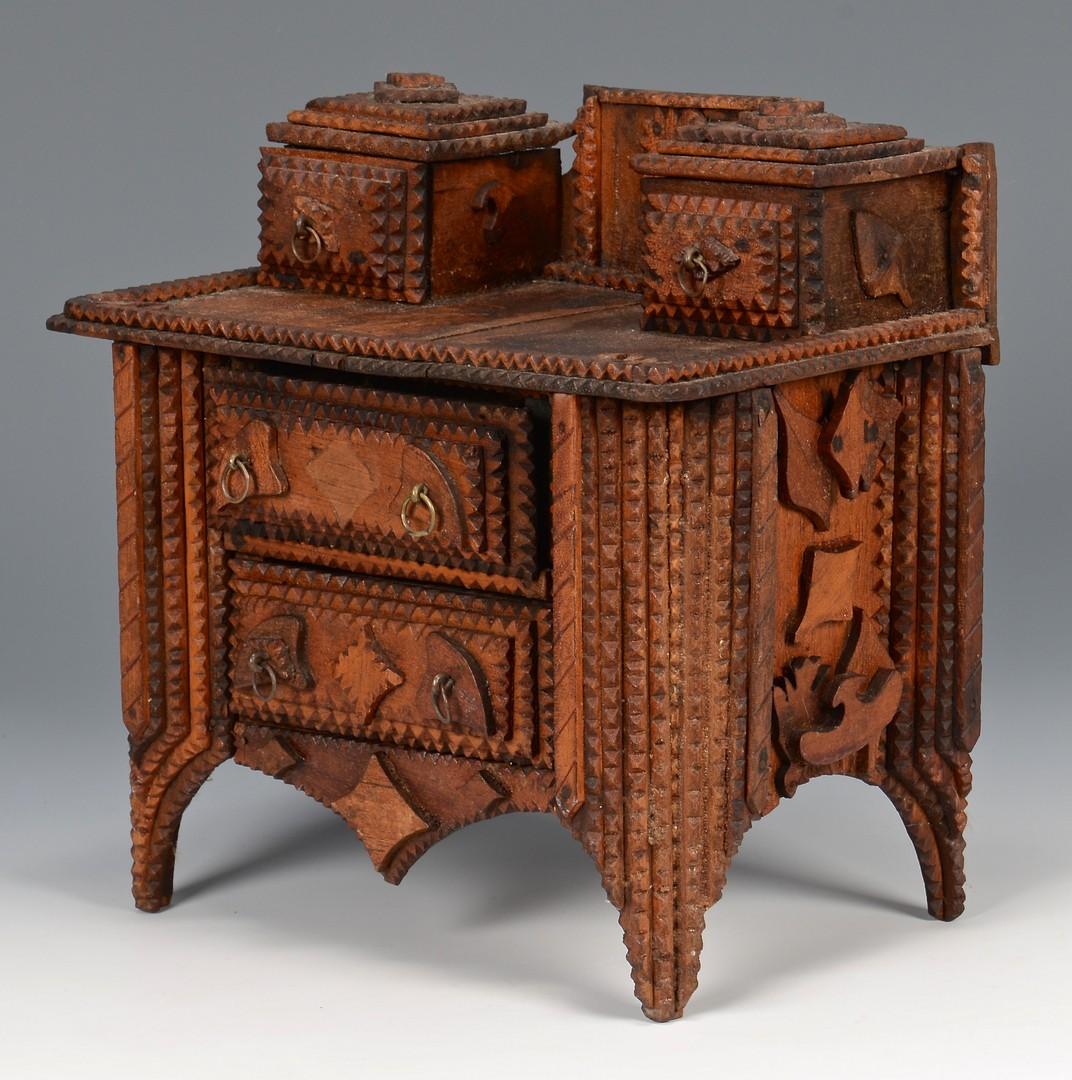 Lot 295: Miniature tramp art chest