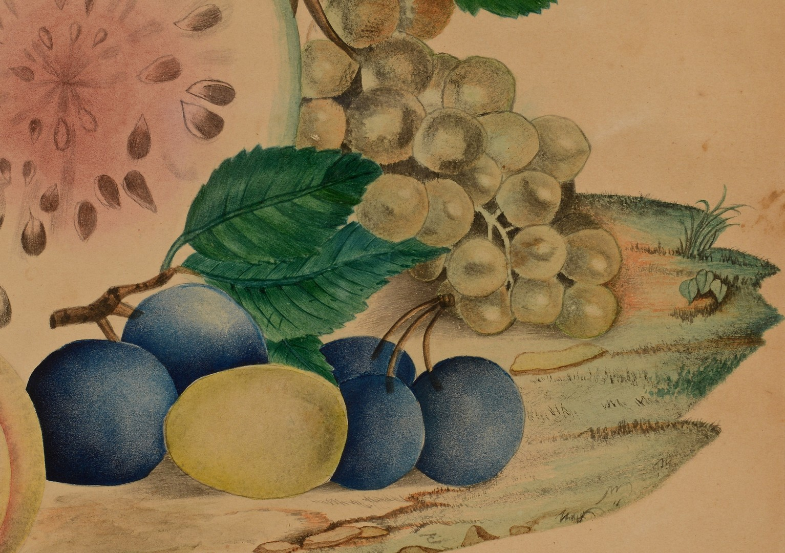 Lot 296: Watercolor Theorem dated 1867, poss. Southern