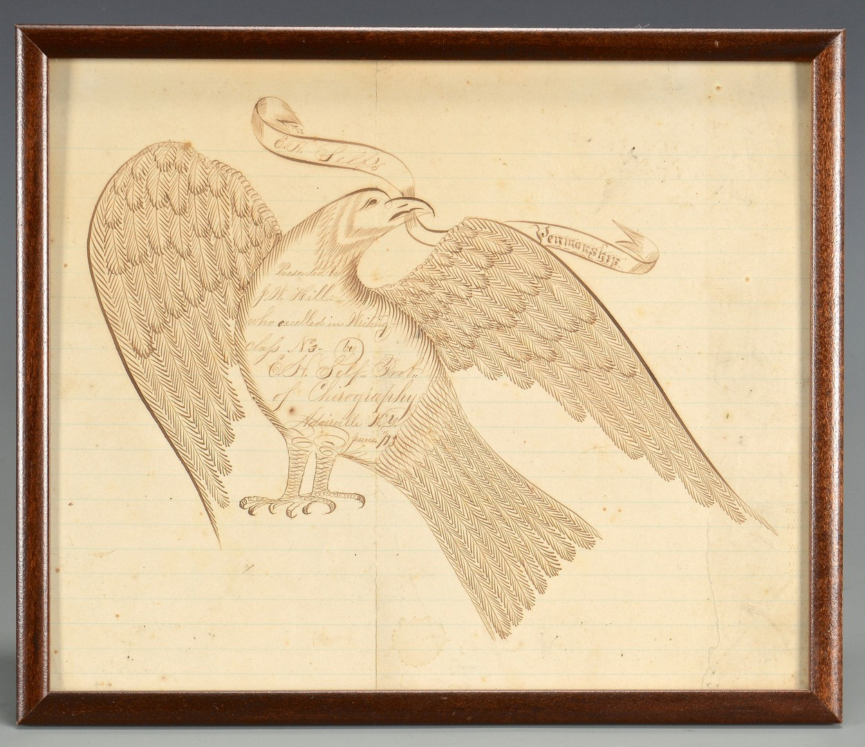 Lot 297: KY Calligraphy Drawing w/Eagle