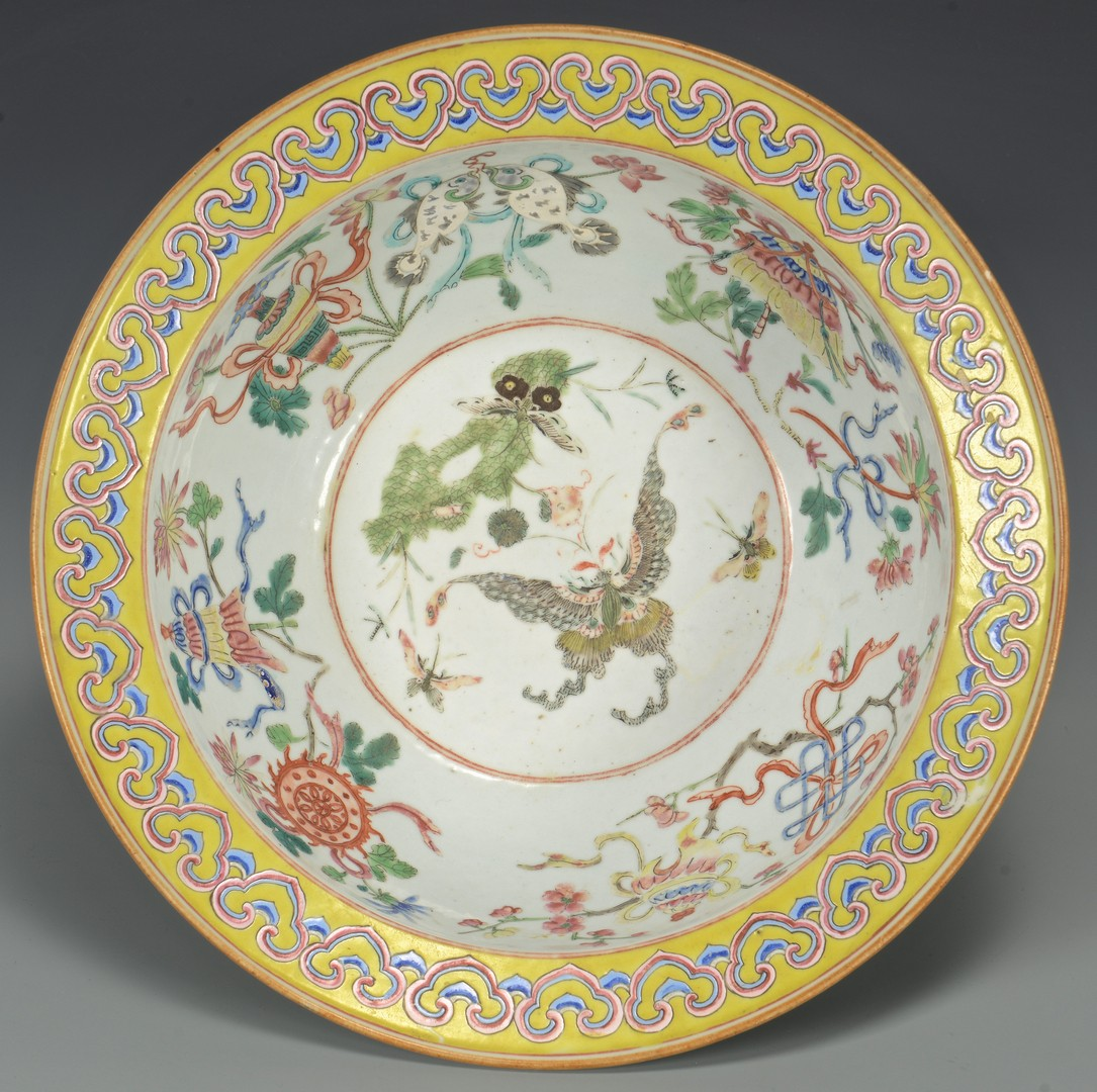 Lot 29: Large Qing Bowl with butterflies, yellow rim