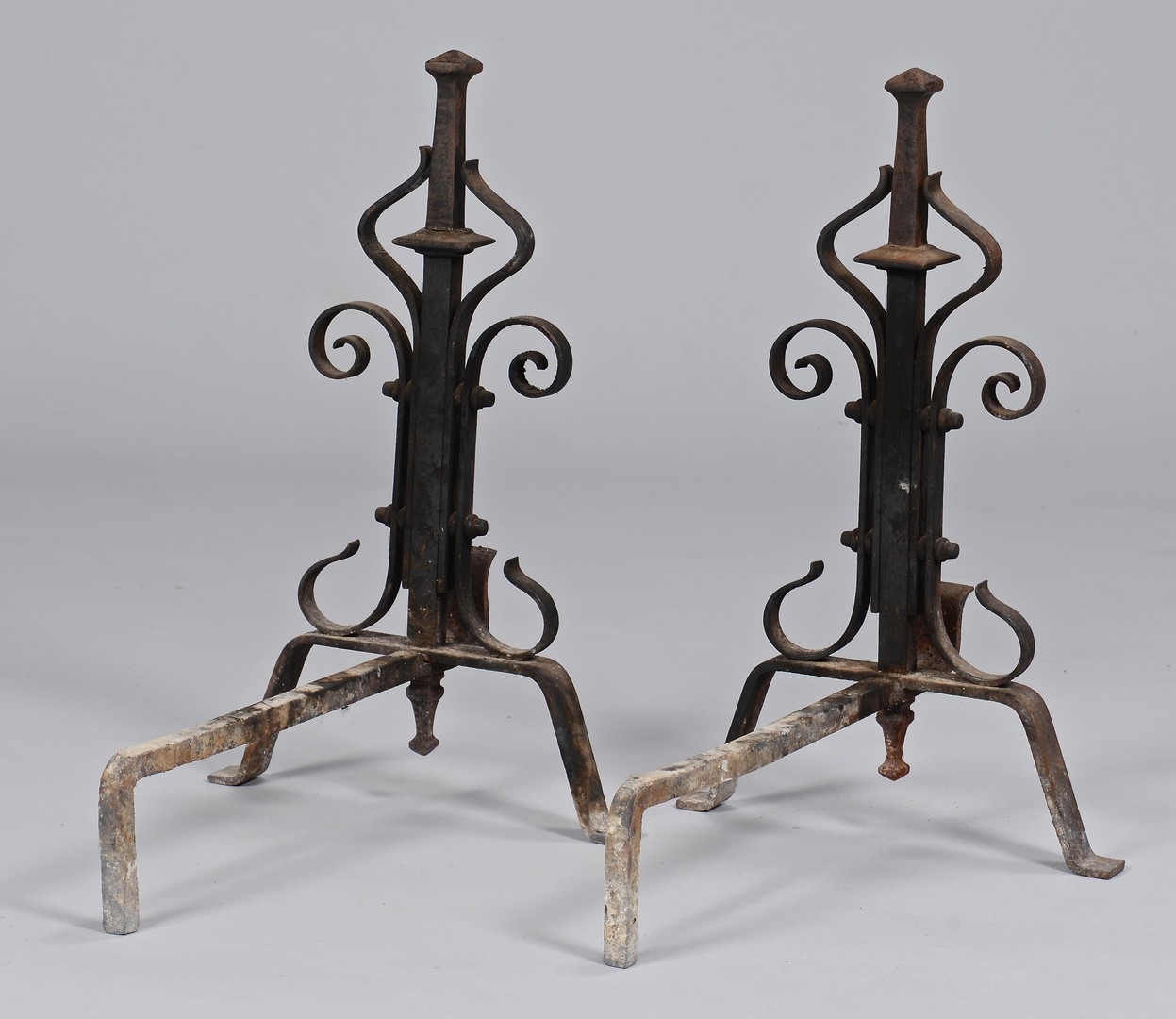 Lot 300: Pair French Wrought Iron Andirons