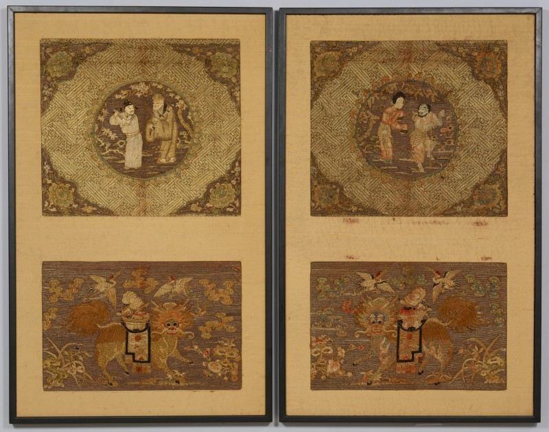 Lot 31: 2 Chinese Gilt Embroidered Framed Panels