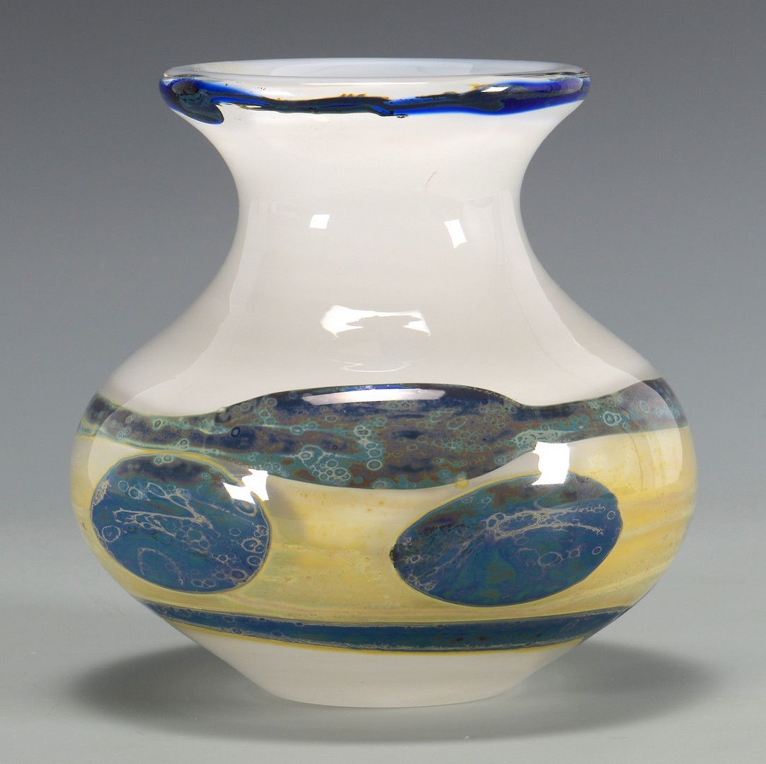 Lot 326: Val St. Lambert Swirl Glass Bowl & 2 Candlesticks