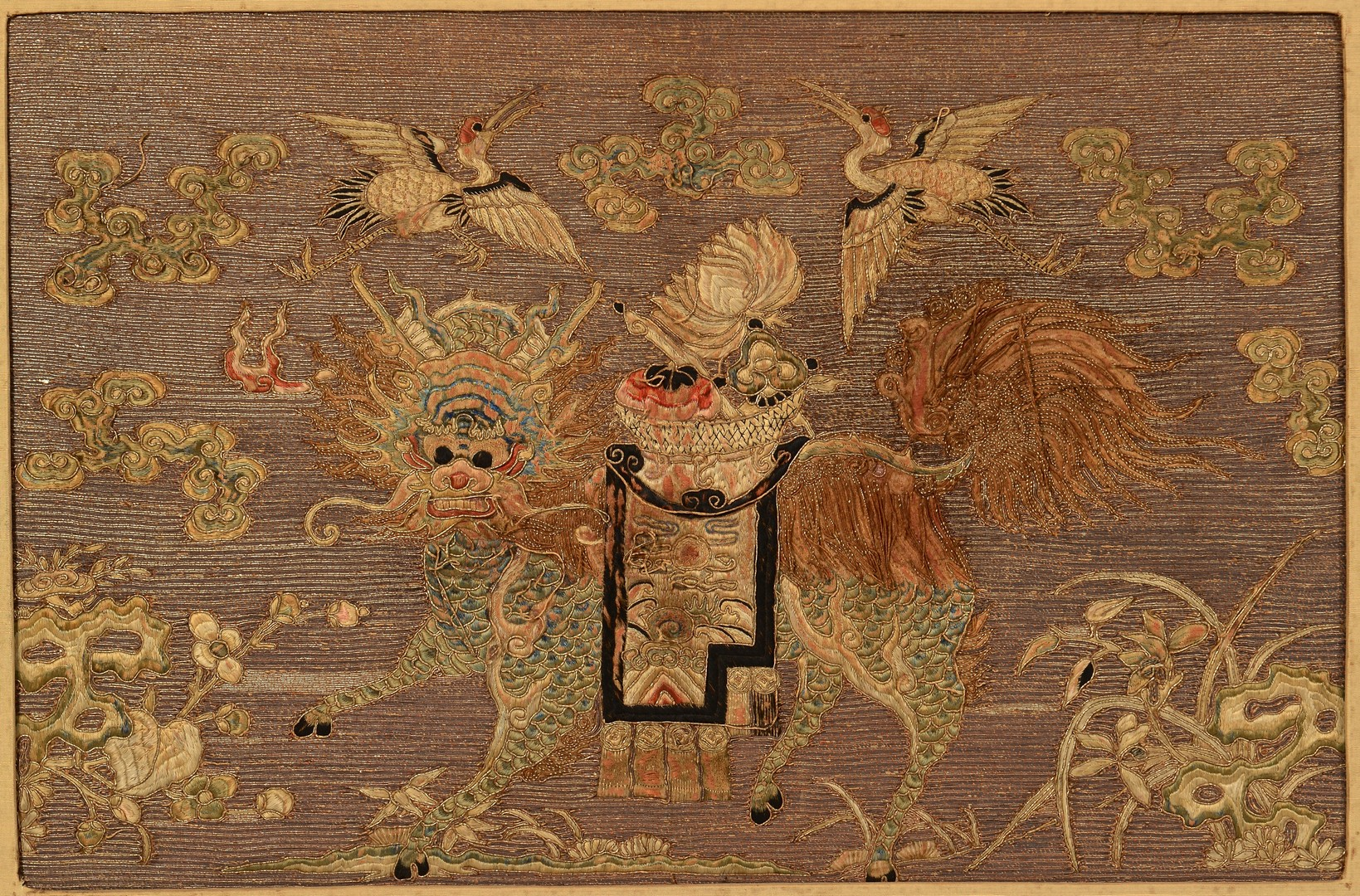 Lot 32: 2 Chinese Gilt Embroidered Framed Panels