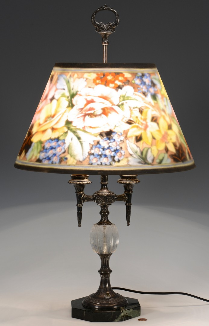 Lot 332: Pairpoint Reverse-Painted Table Lamp