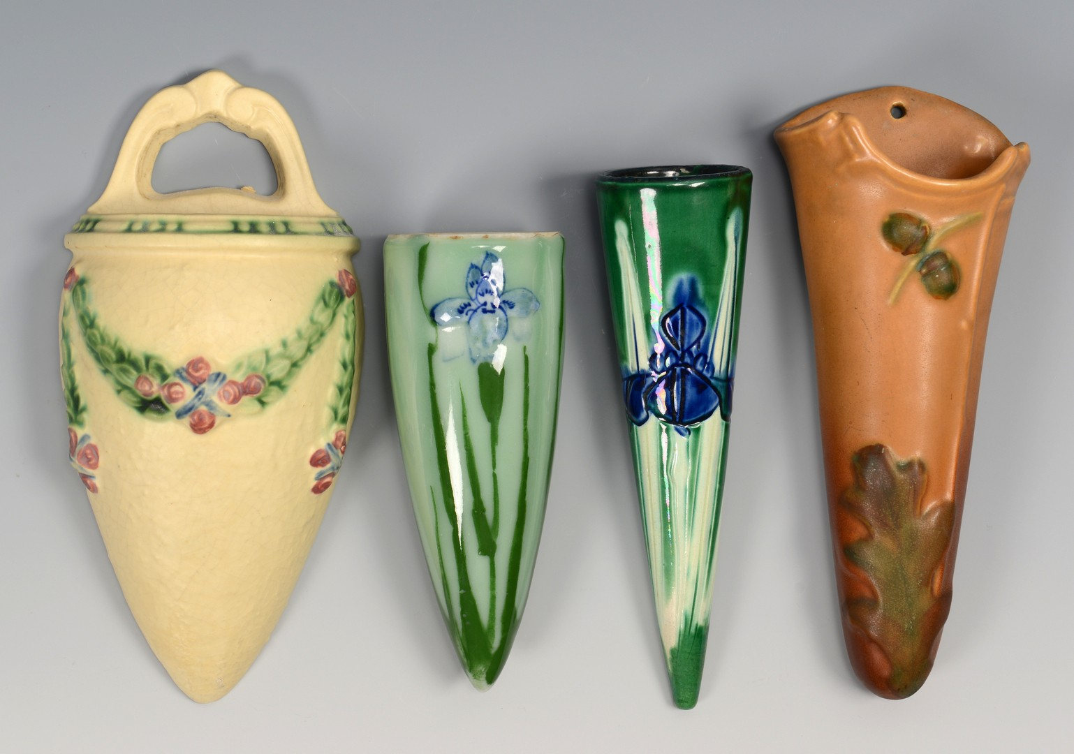 Lot 343: 8 Art Pottery Wall Pockets, Incl. Roseville