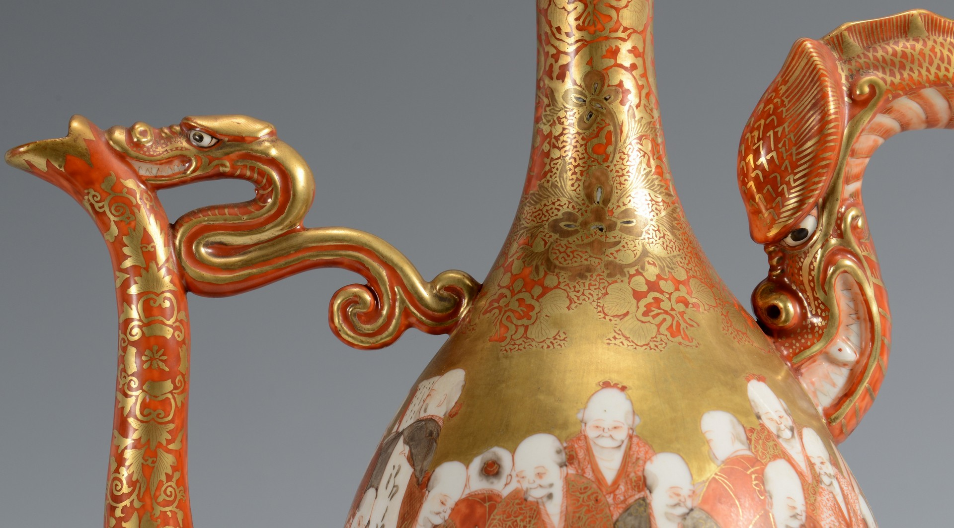 Lot 345: Japanese Kutani Porcelain Dragon Ewer