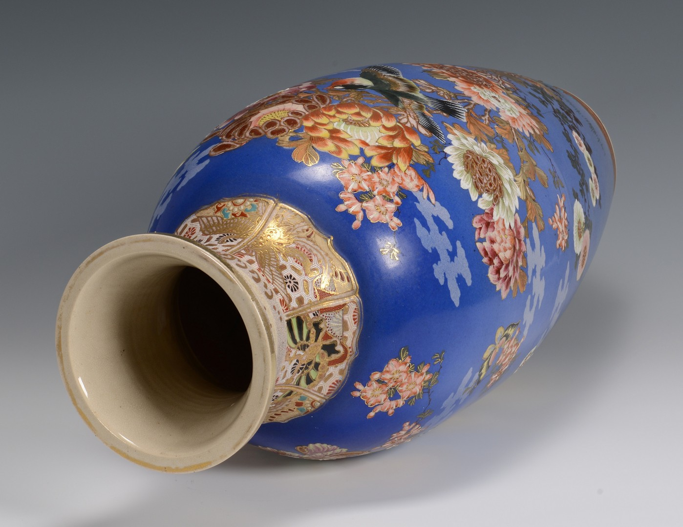 Lot 347: Satsuma Blue Ground Temple Vase