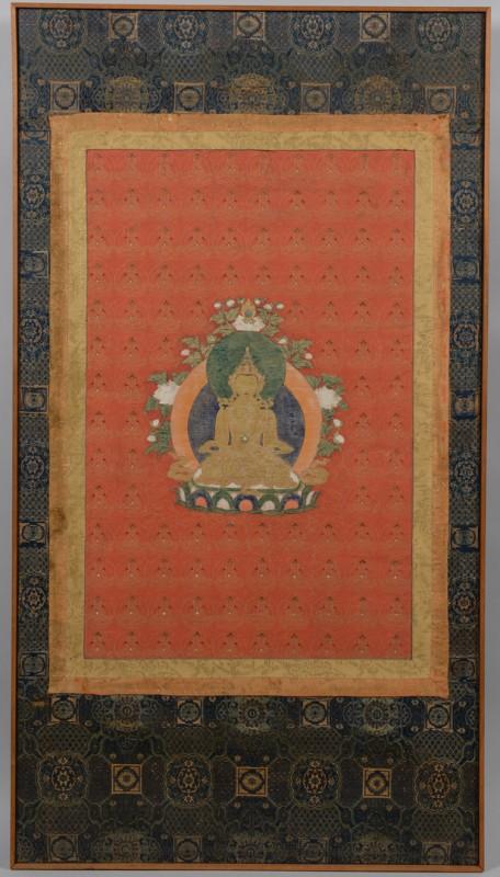 Lot 34: Framed Tibetan Thousand Buddha Thangka