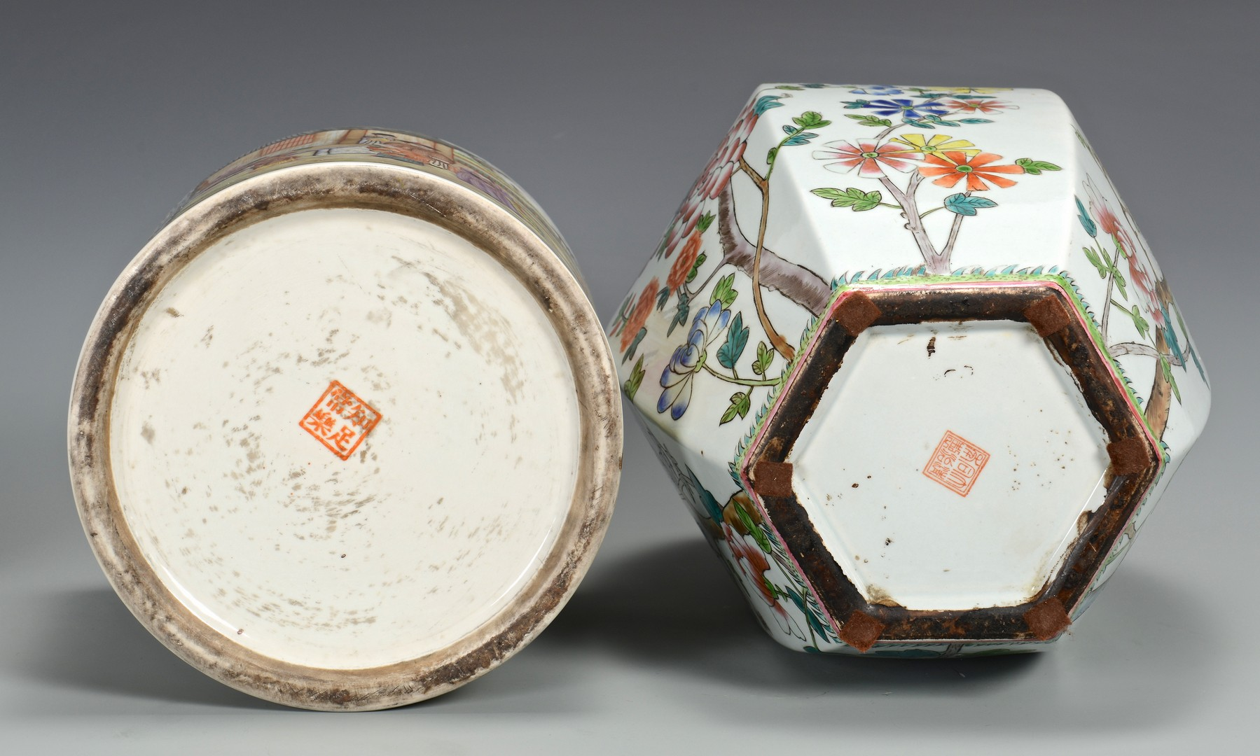 Lot 354: Famille Rose Canister w/ Roosters & Hexagonal Jar