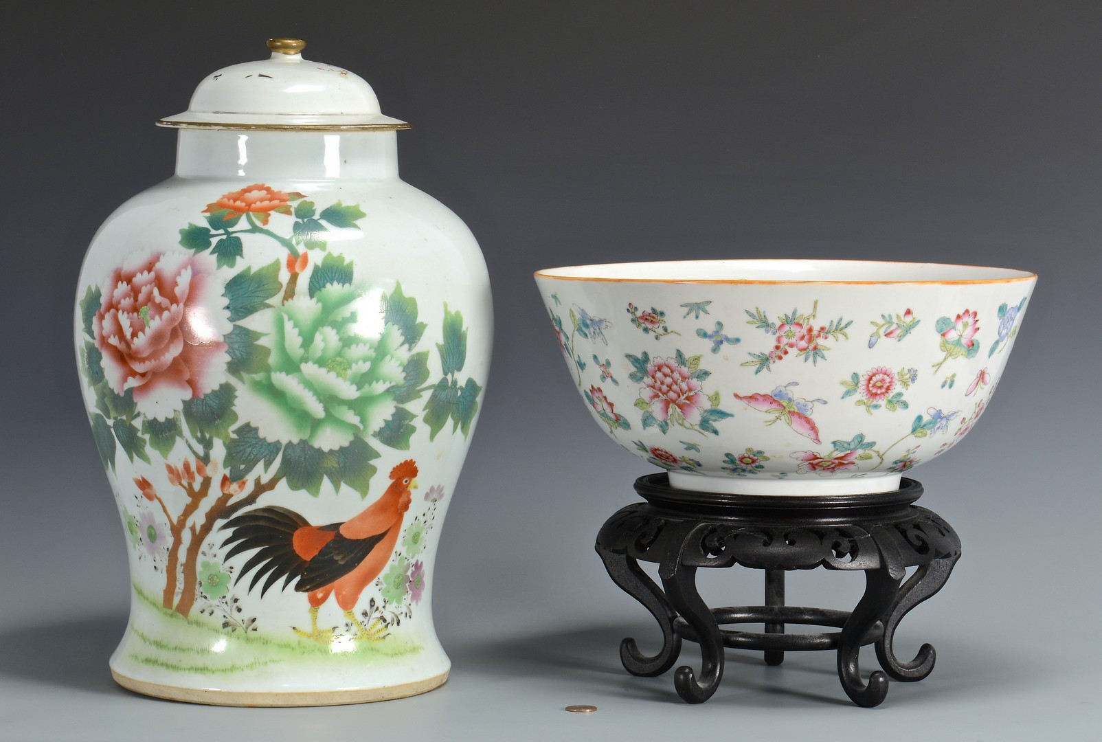 Lot 355: Chinese Ginger Jar w/ Rooster & Famile Rose Bowl