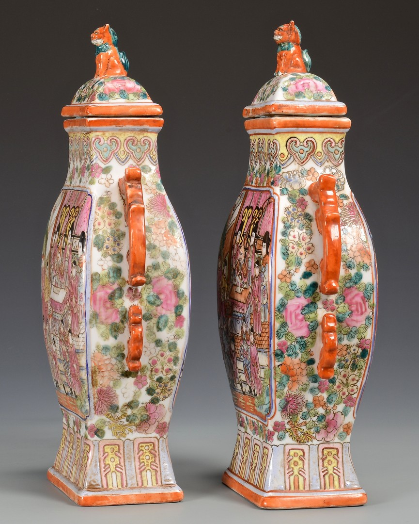 Lot 356: Imperial style Yellow Cups; Mandarin Palette Vases