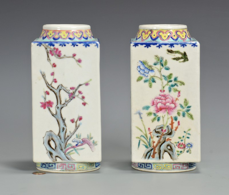 Lot 357: Pr. Chinese Famille Rose Square Vases