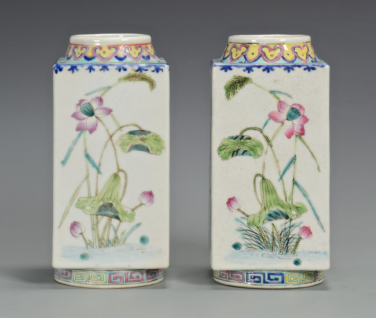 Lot 357: Pr. Chinese Famille Rose Square Vases