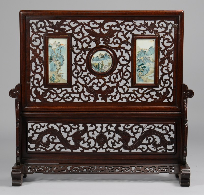 Lot 35: Chinese Republic Screen w/ Porcelain Plaques