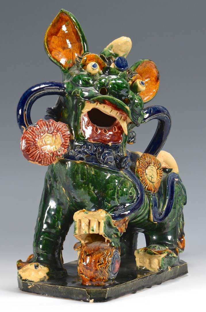 Lot 360: 3 Buddhist Lion Pottery Figures