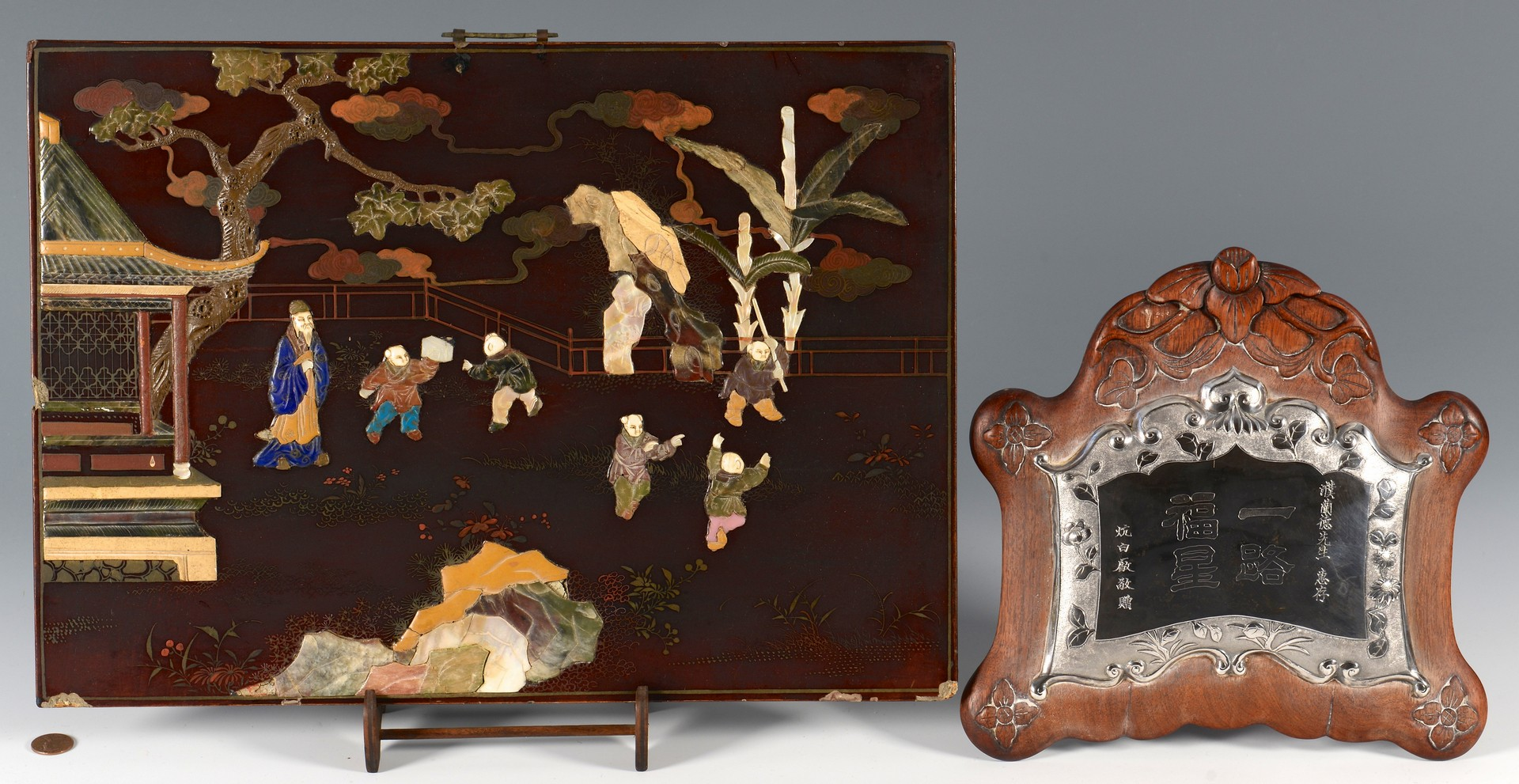 Lot 362: Chinese Inlaid Panels & Silver Plaque