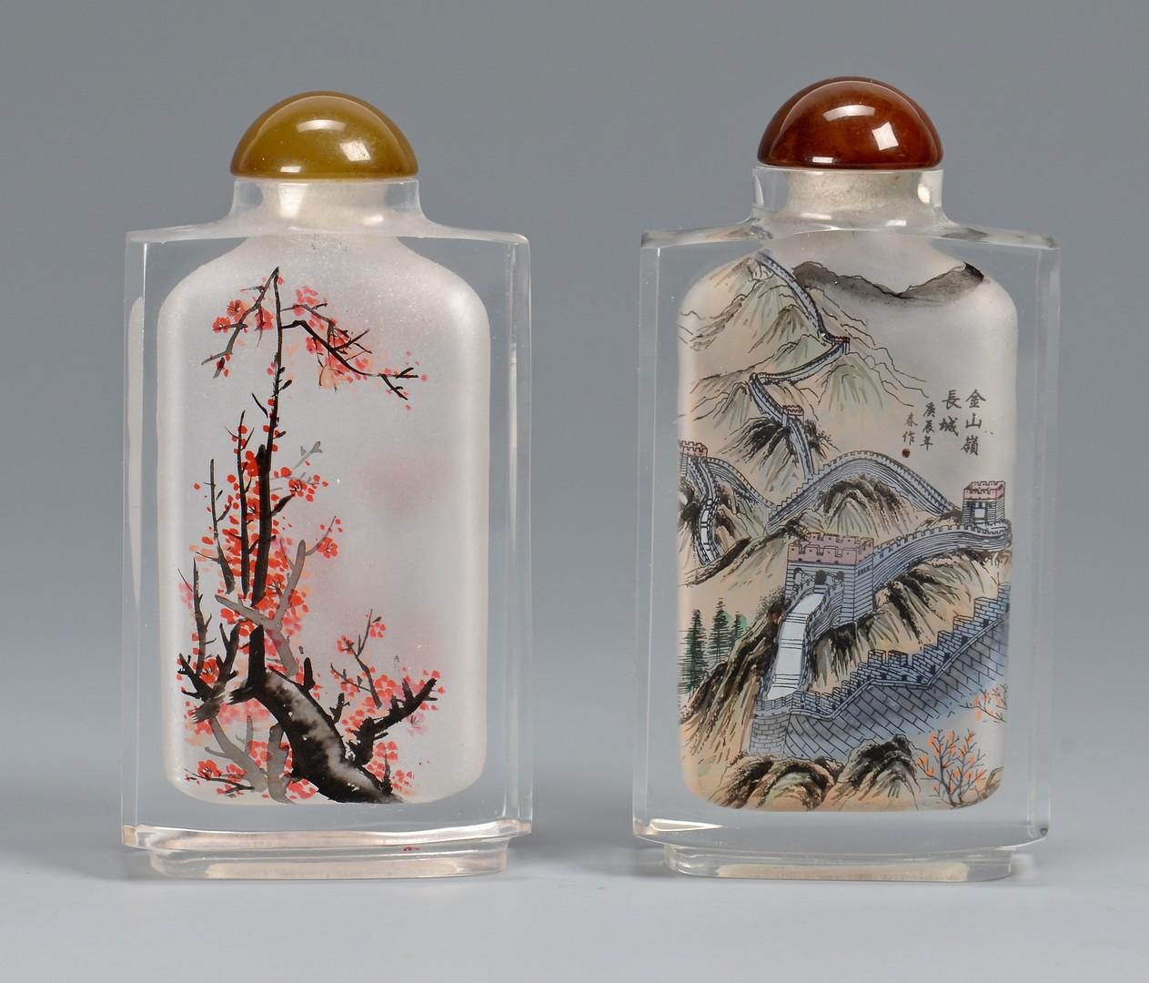 Lot 366: Pr. Chinese Mille Fleur Miniature Vases & Pr. Snuff Bottles
