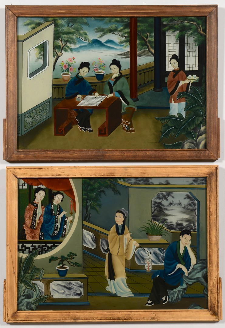 Lot 367: Pr. Chinese Reverse Paintings on Glass