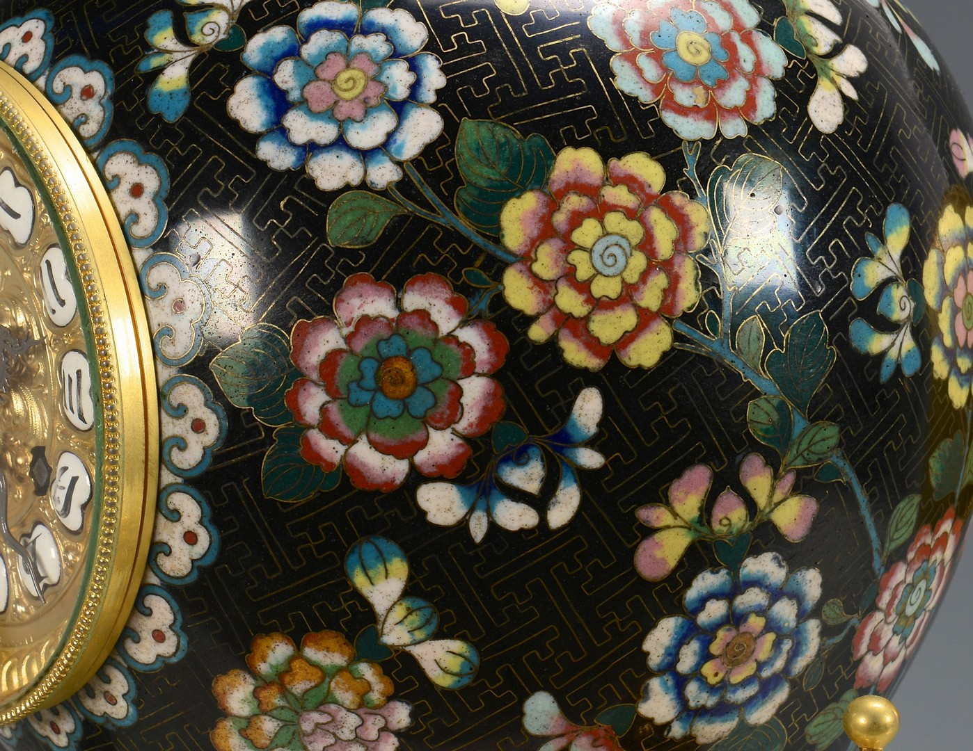 Lot 36: Chinese Cloisonne Garniture Set with clock