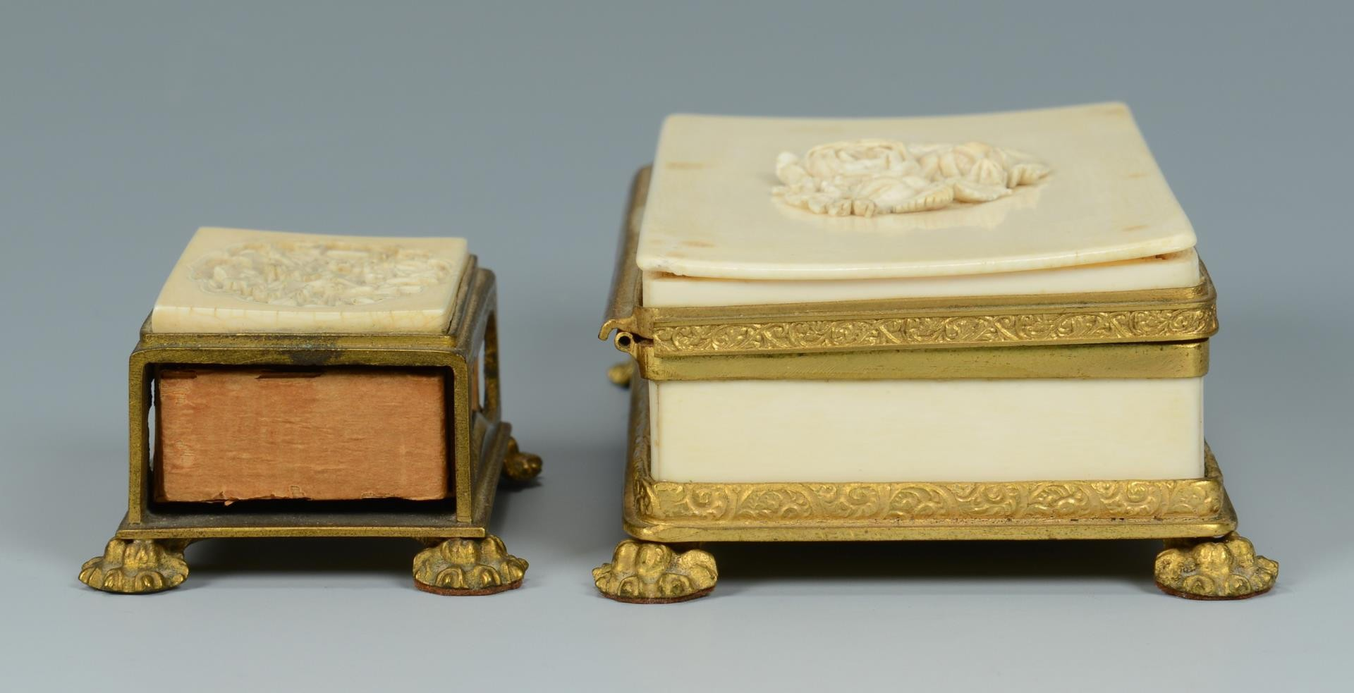Lot 372: 2 Gilt Mounted Ivory Boxes