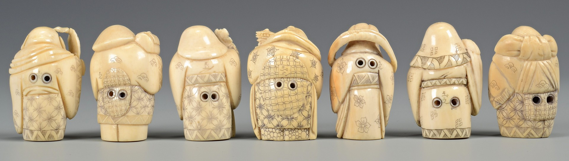 Lot 373: 7 Ivory Immortals & Lacquer Fruit