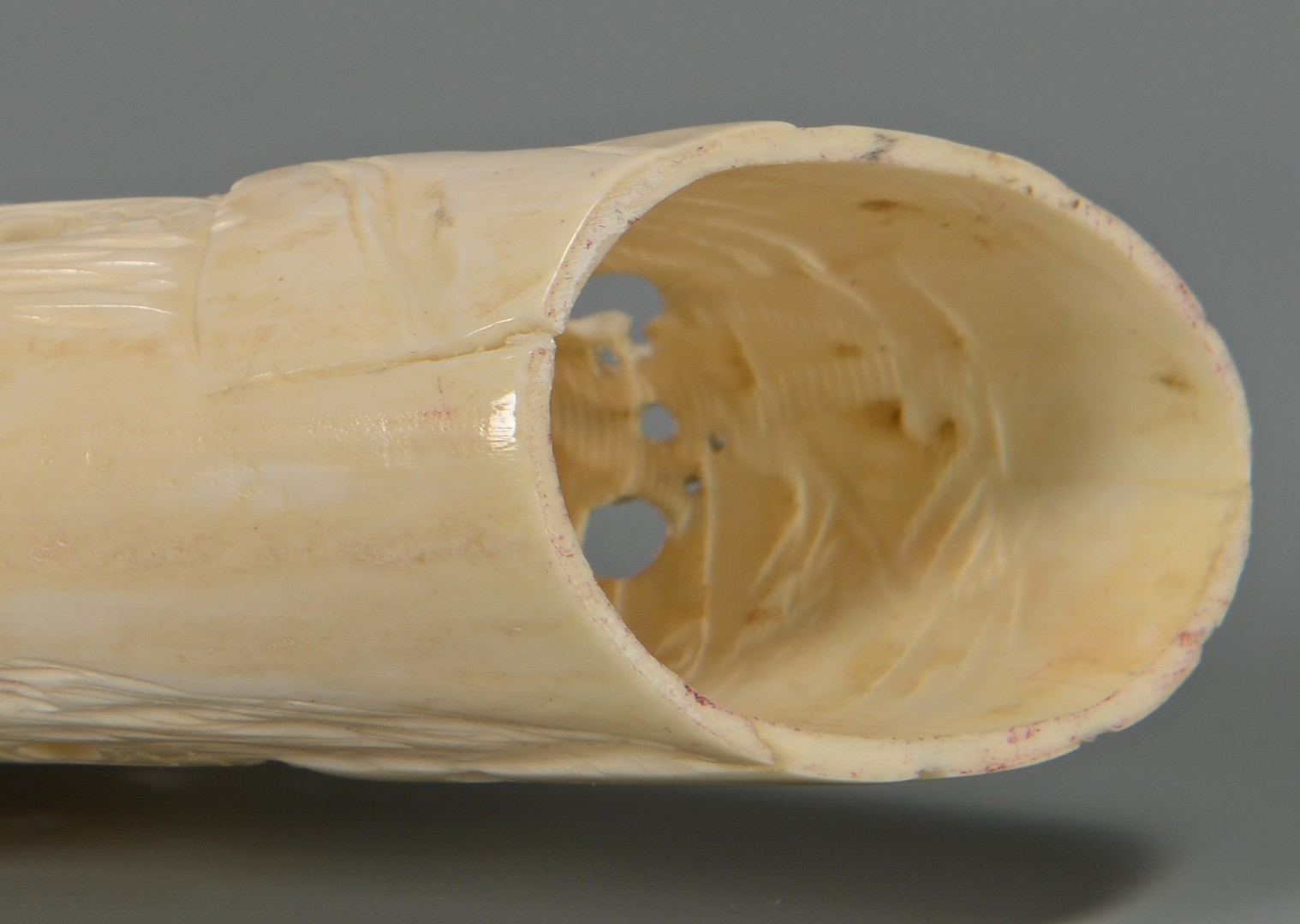 Lot 374: Chinese Carved Ivory Tusk, Openwork Bridge