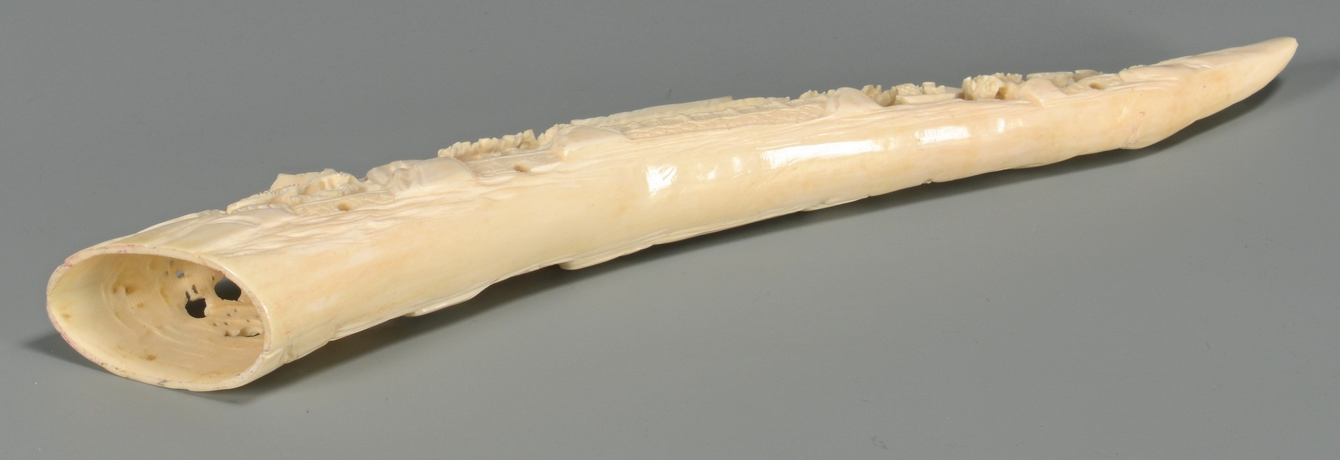 Lot 374: Chinese Carved Ivory Tusk, Openwork Bridge