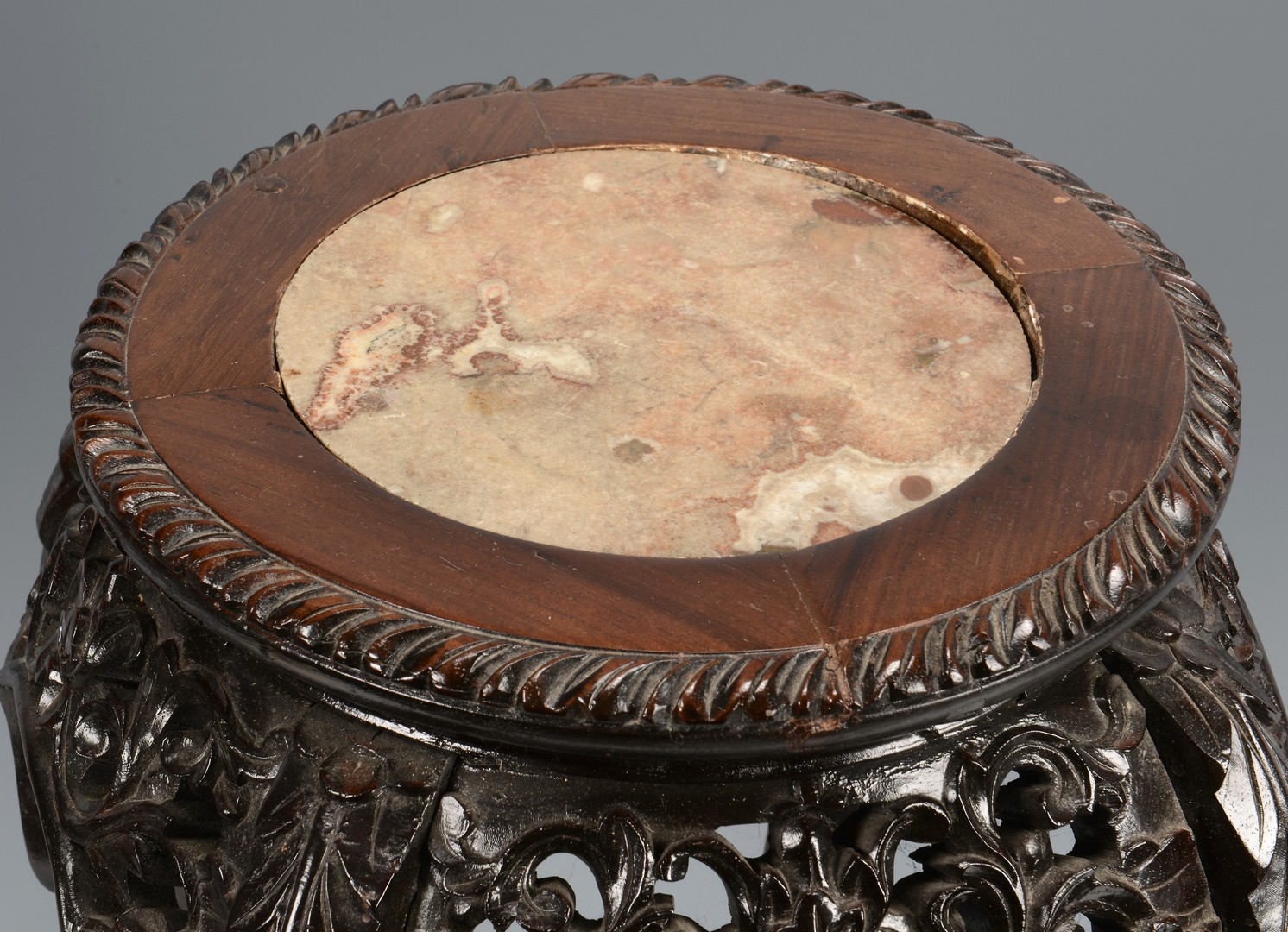 Lot 377: Pair Chinese Carved Low Tables w/ Marble Insets