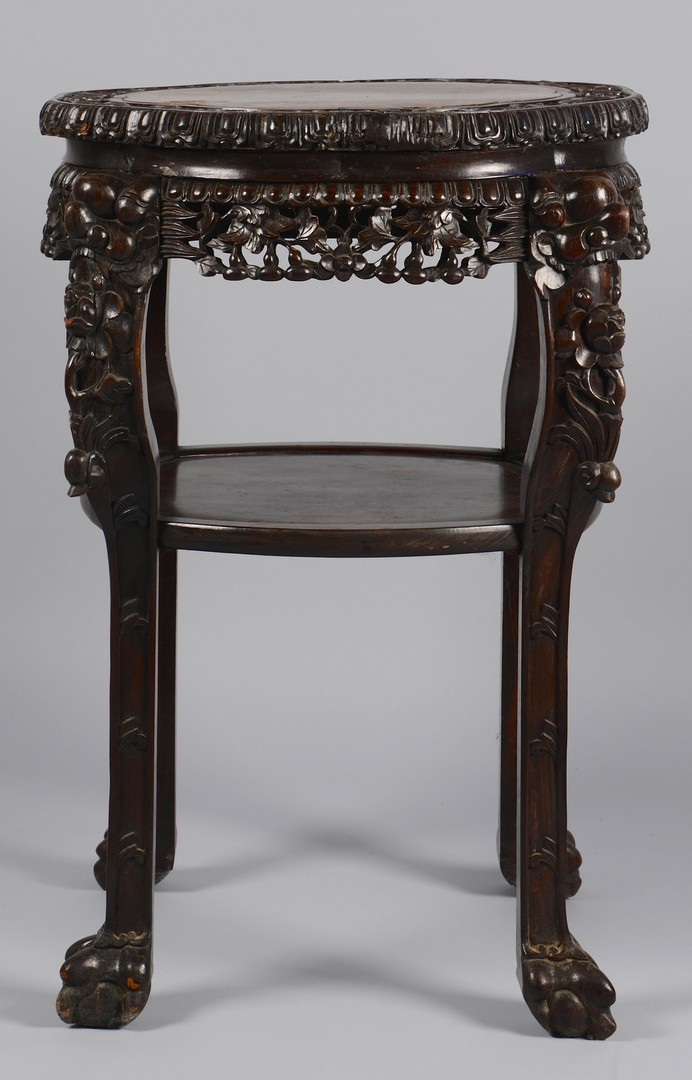 Lot 378: Chinese Carved Table/Stand w/ Marble Inset