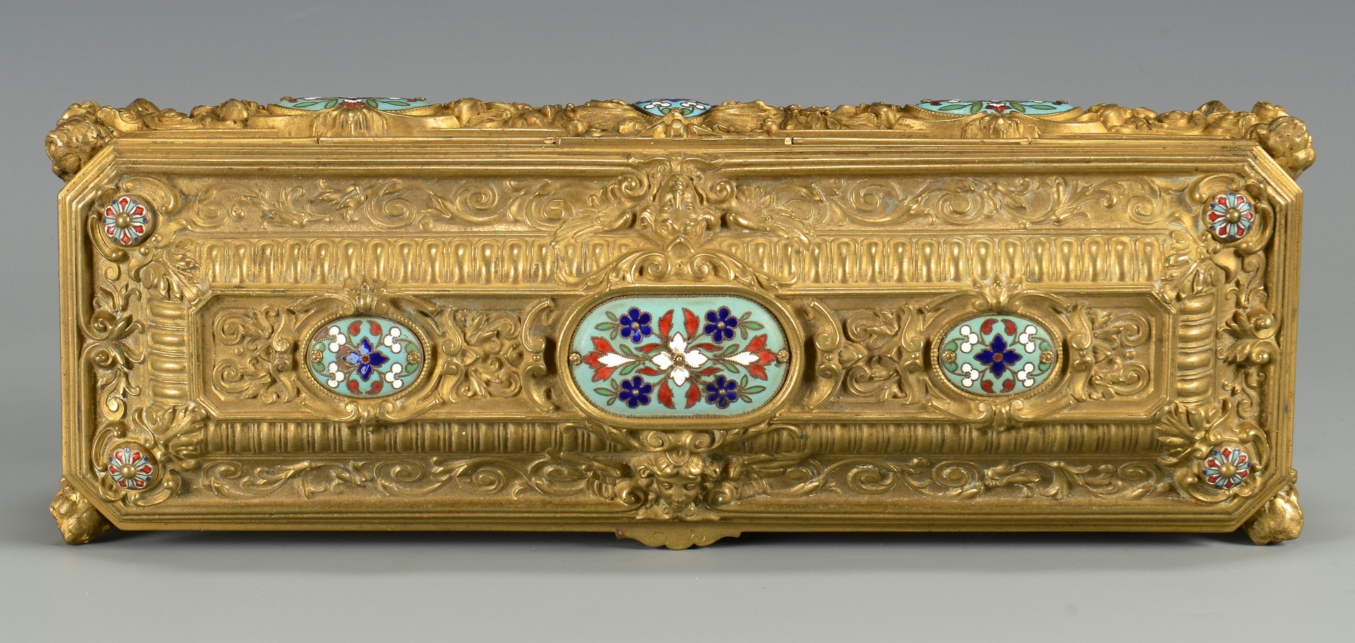 Lot 37: Rectangular Bronze Casket w/ Enamel
