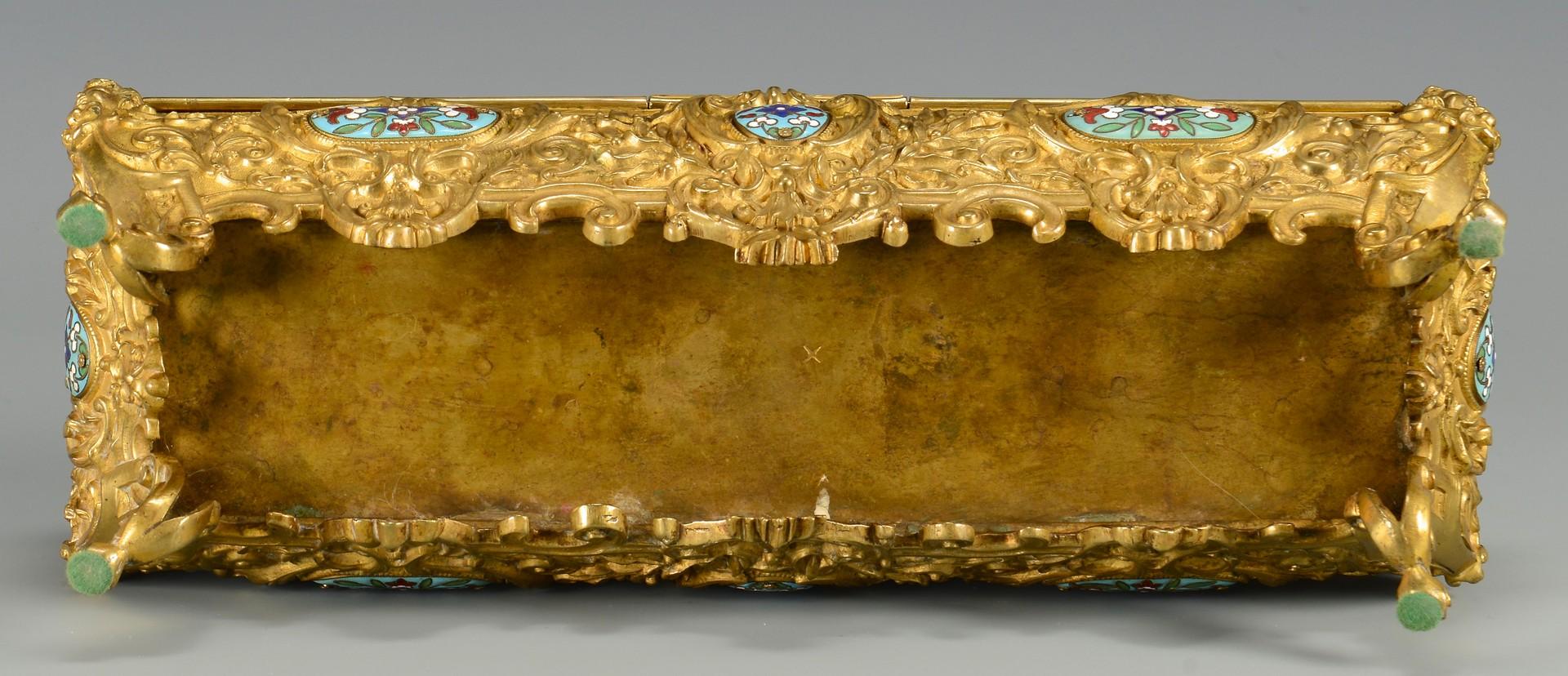 Lot 37: Rectangular Bronze Casket w/ Enamel