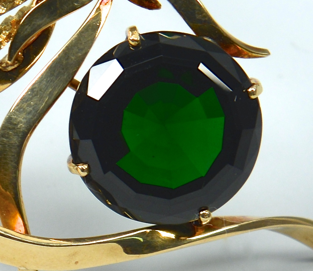 Lot 389: 18k Green Tourmaline Ribbon Pin