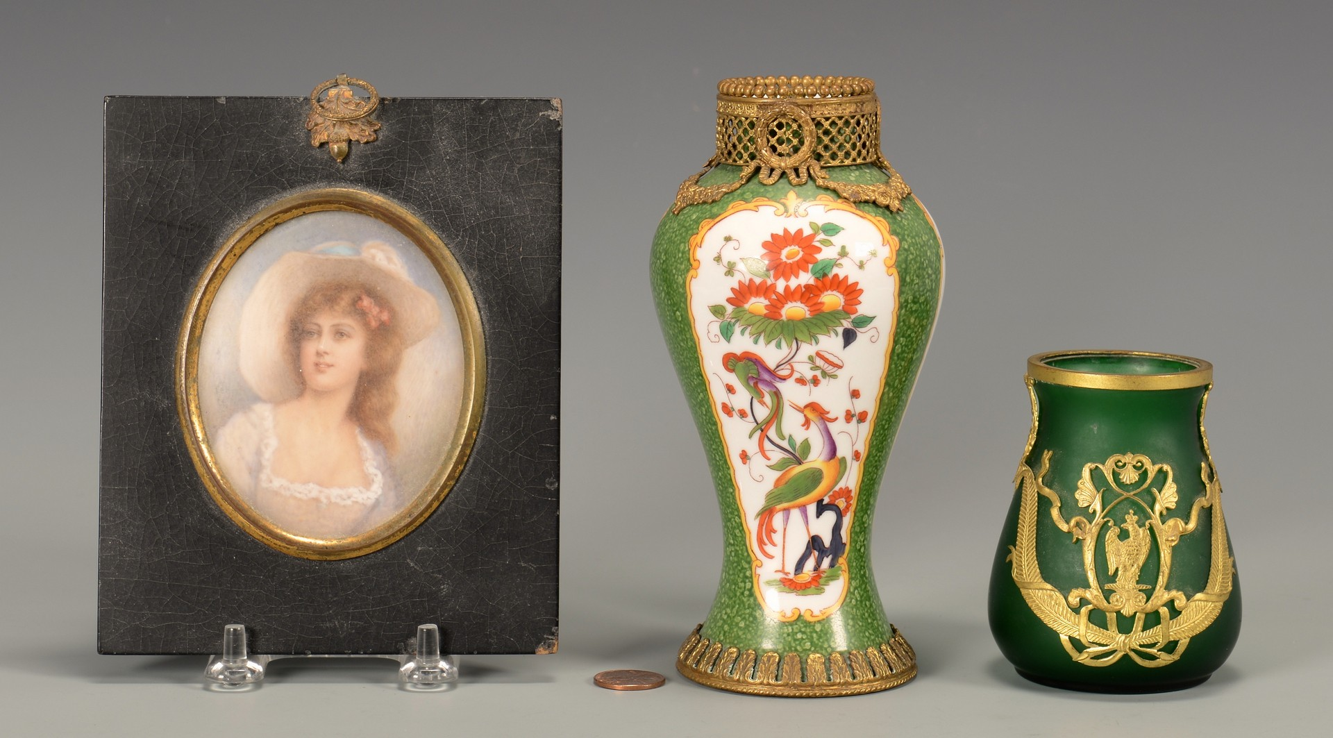 Lot 38: Gilt bronze vases & Miniature Portrait