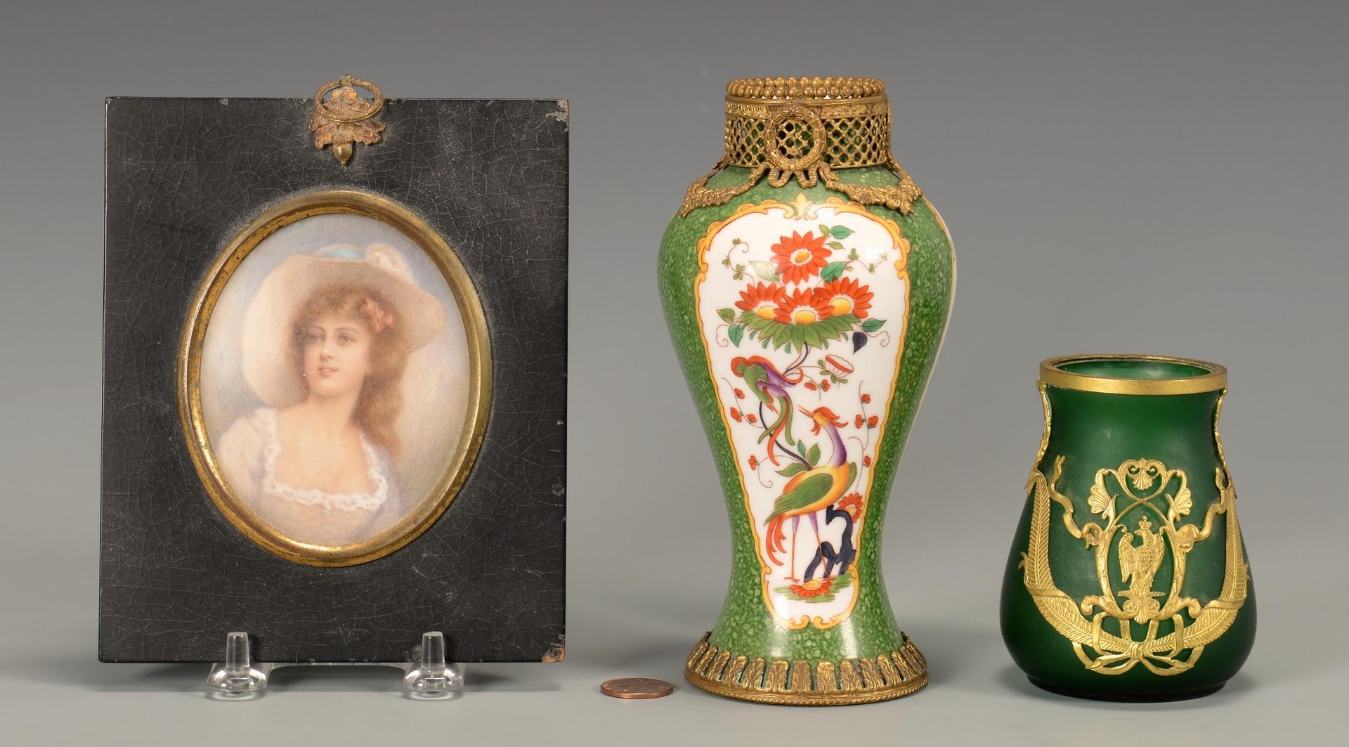 Lot 38: Gilt bronze vases & Miniature Portrait