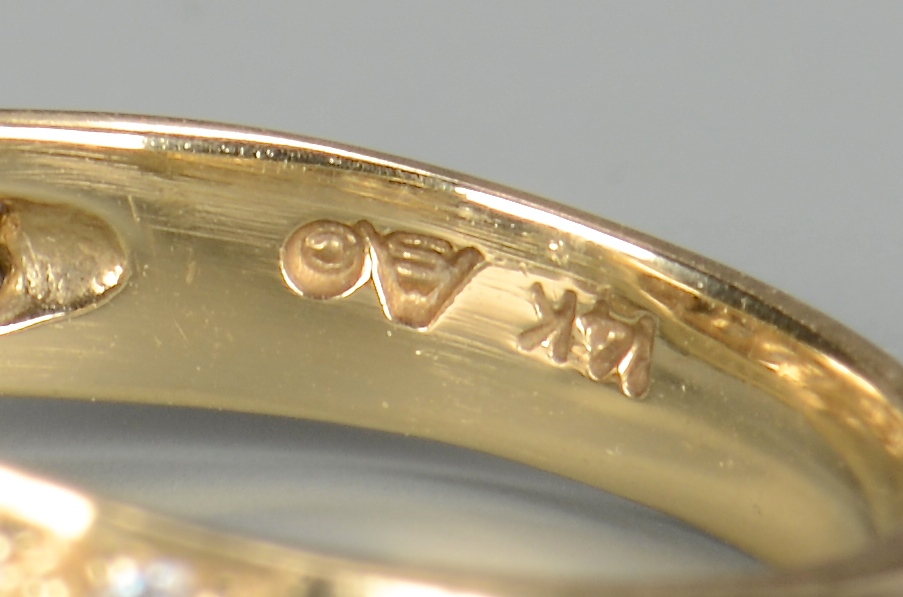 Lot 396: 2 14k Diamond Rings incl Eternity Band