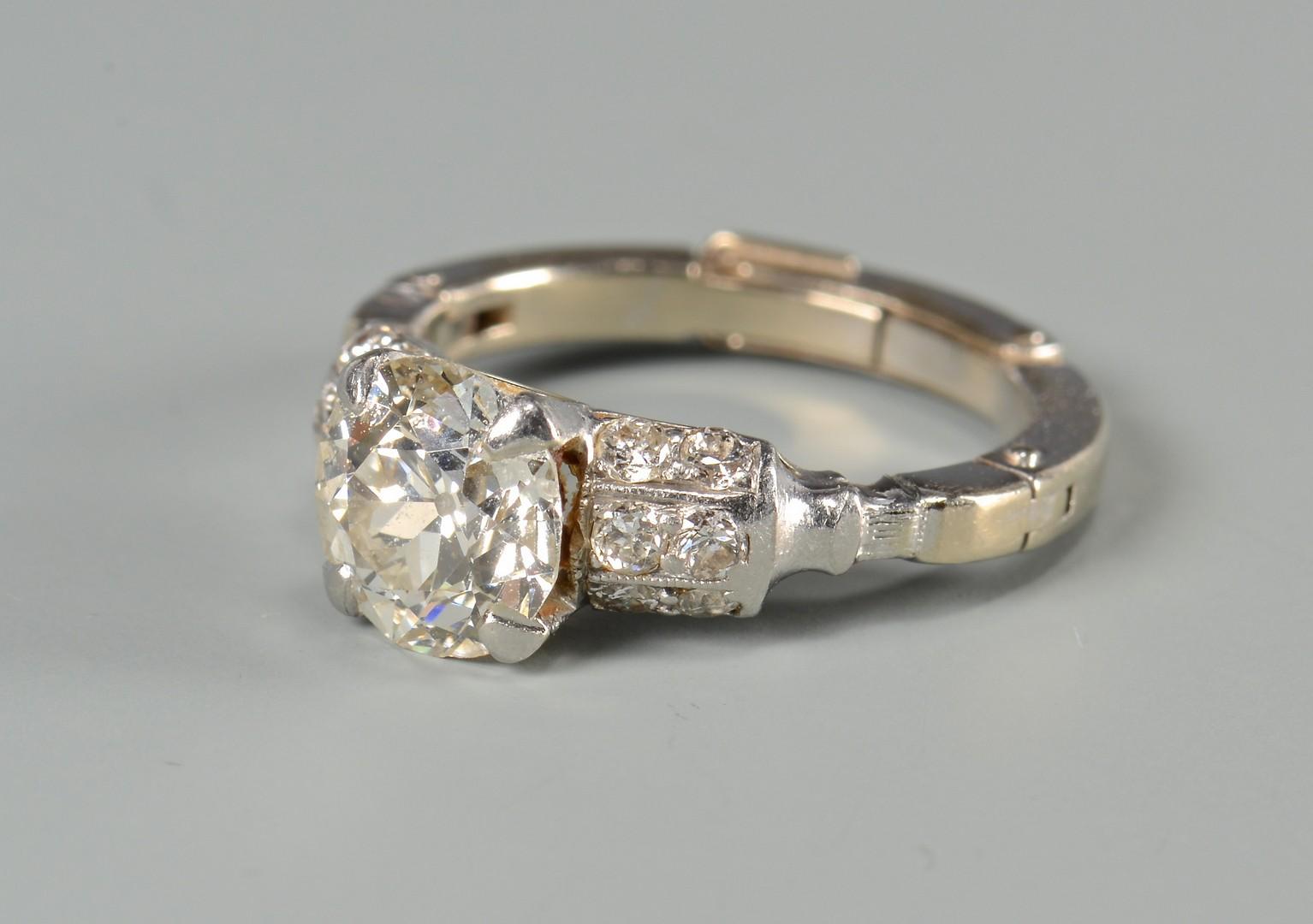 Lot 397: 1.35 carat old mine cut diamond ring
