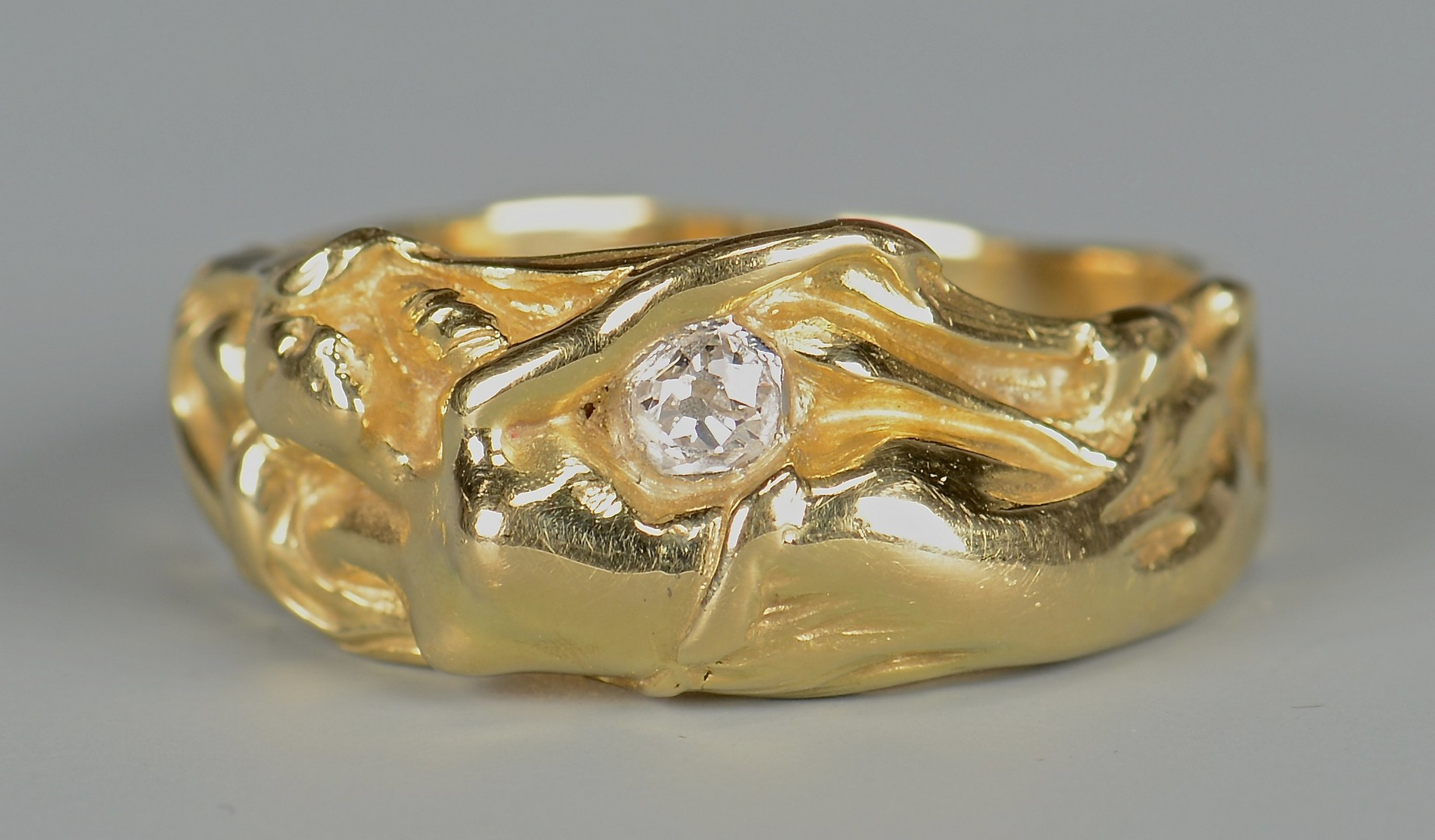 Lot 398: 18K Art Nouveau Female Nude Ring
