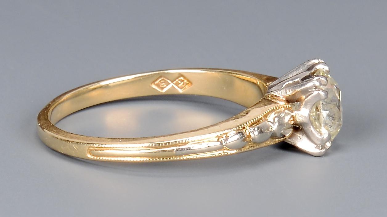 Lot 399: 14k gold 1 carat old mine cut dia ring