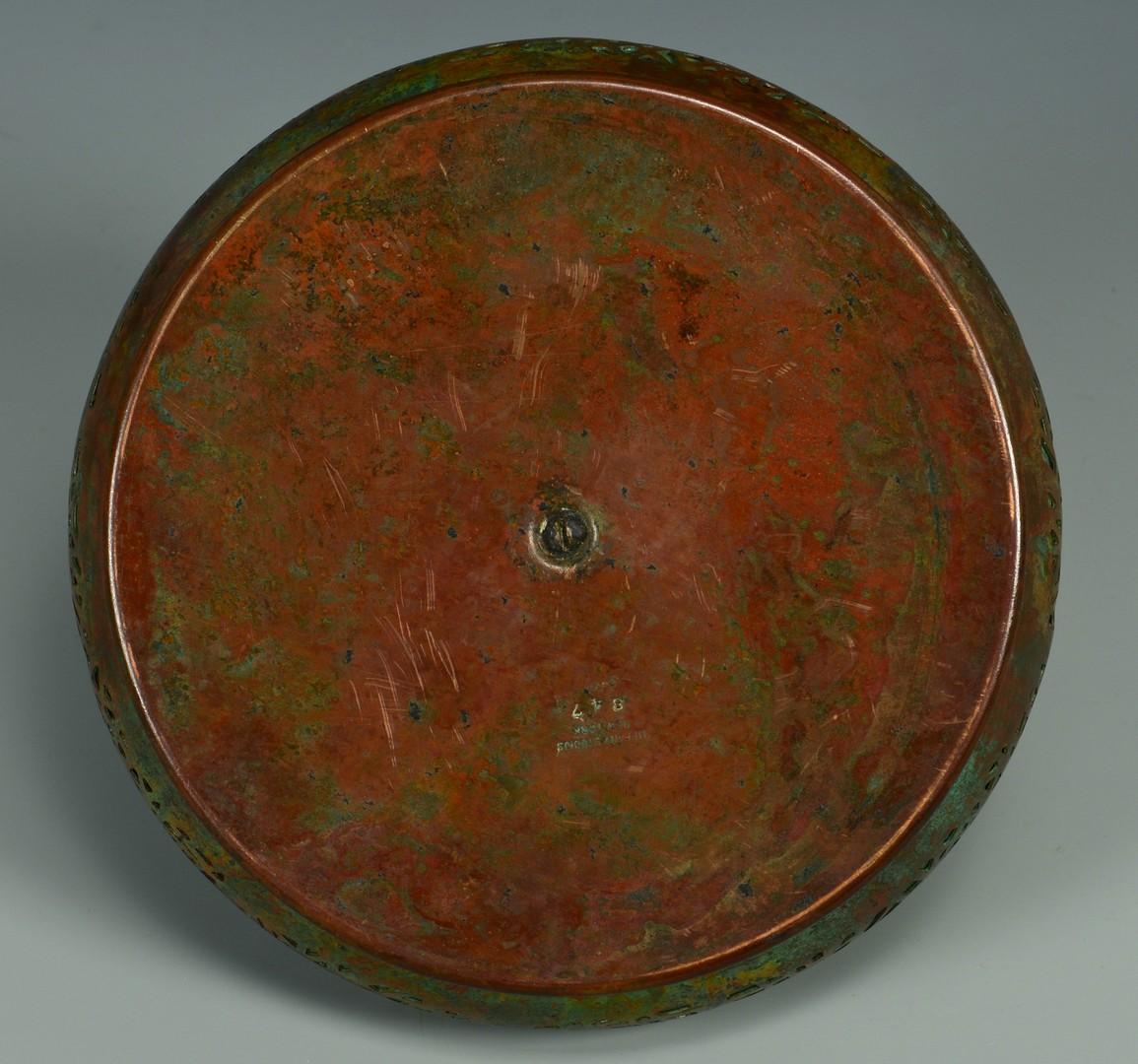 Lot 39: Tiffany Bronze & Glass Inkwell, Pine Needle Pattern