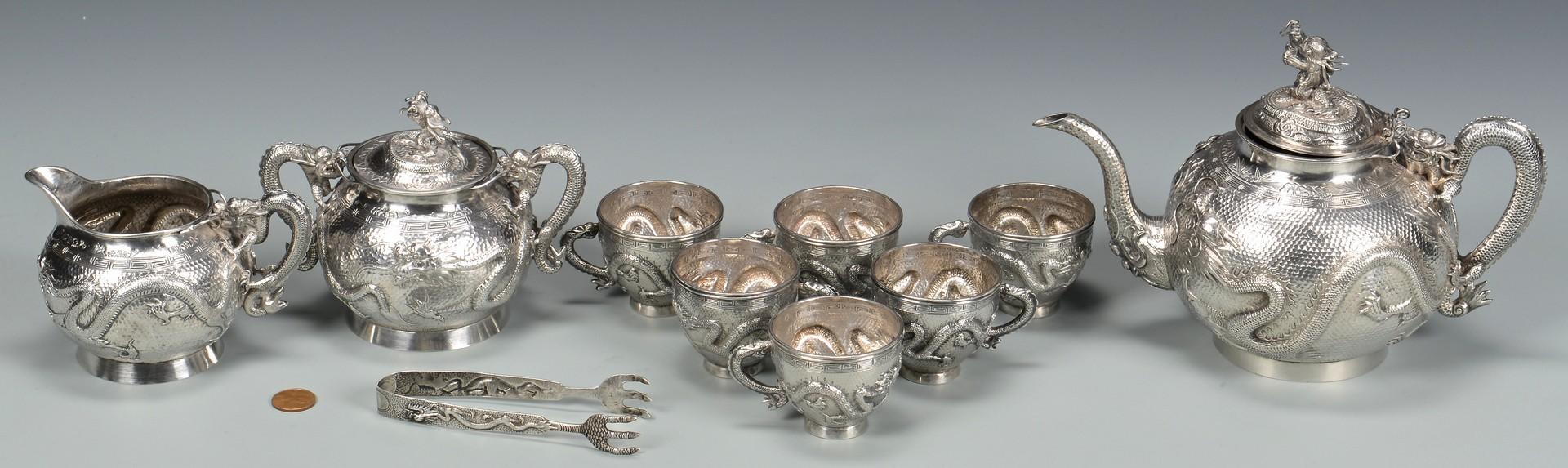 Lot 3: Chinese Export Silver Tea Set, 10 pcs