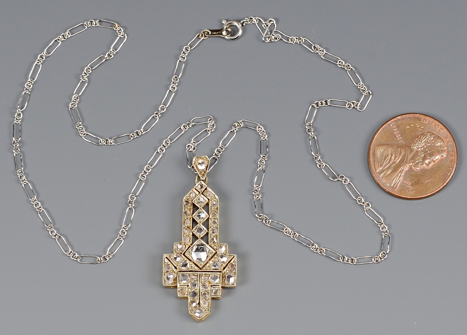 Lot 403: Art Deco plat/18k Diamond Pendant