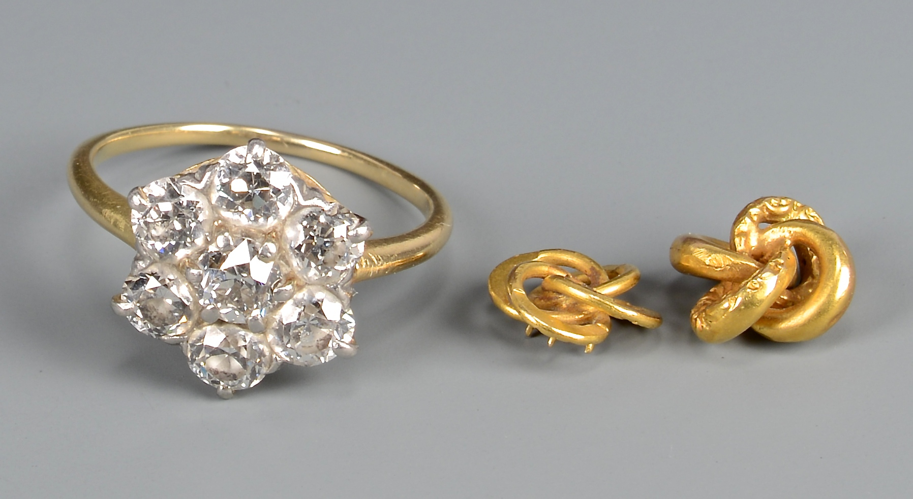 Lot 405: 18k Diamond Flower Ring & 14k knots