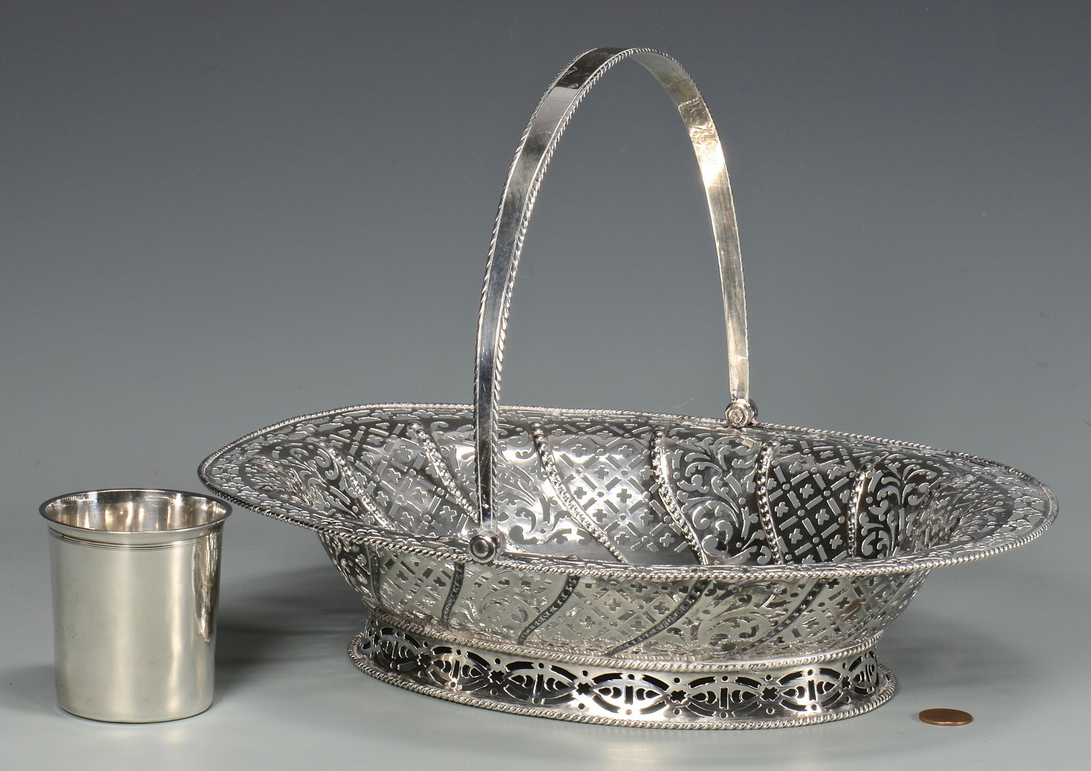 Lot 407: English Silver Basket & French Cup