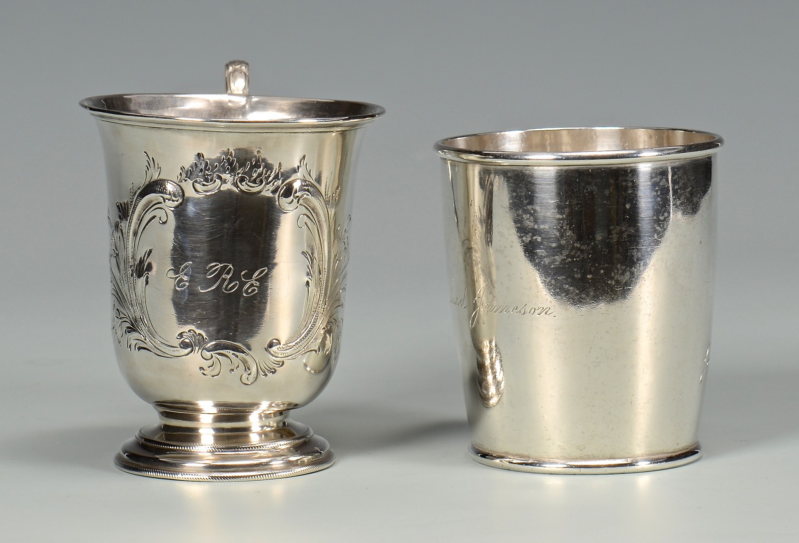 Lot 408: 2 coin silver cups, NY and Boston