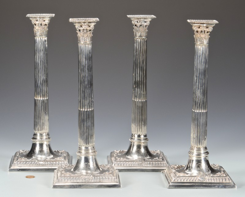 Lot 40: 4 George III Sterling Candlesticks